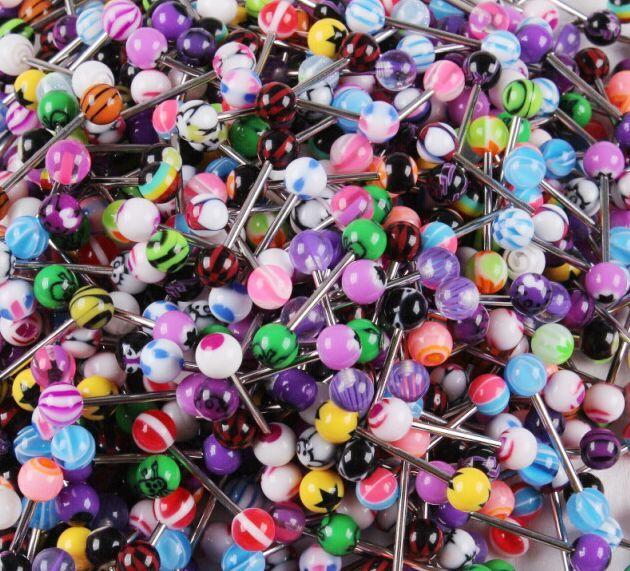 100 قطع مختلط لون أكريليك اللسان الدائري للنساء حلوى لون ثقب اللسان ثقب حلقة الأزرار الحديد مجوهرات