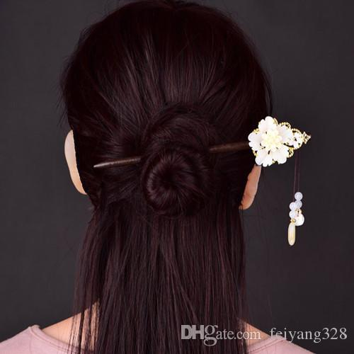 Wholesale 5 Pcs Popular Gold Plated Flower Green and White Colored Glaze for Women Wood Hair Jewelry