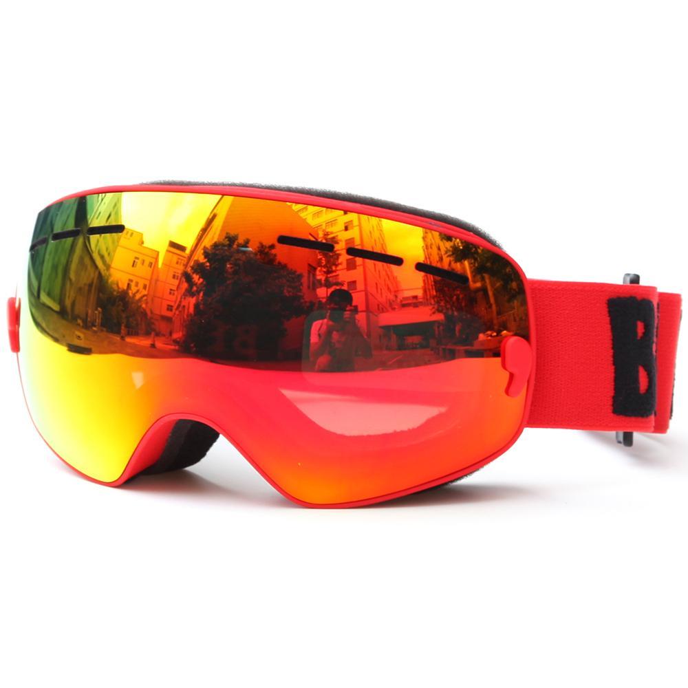 Дети катание на лыжах сноуборде катание на коньках очки УФ-защита анти-туман широкий сферический объектив ПК противоскользящий ремень шлем совместим