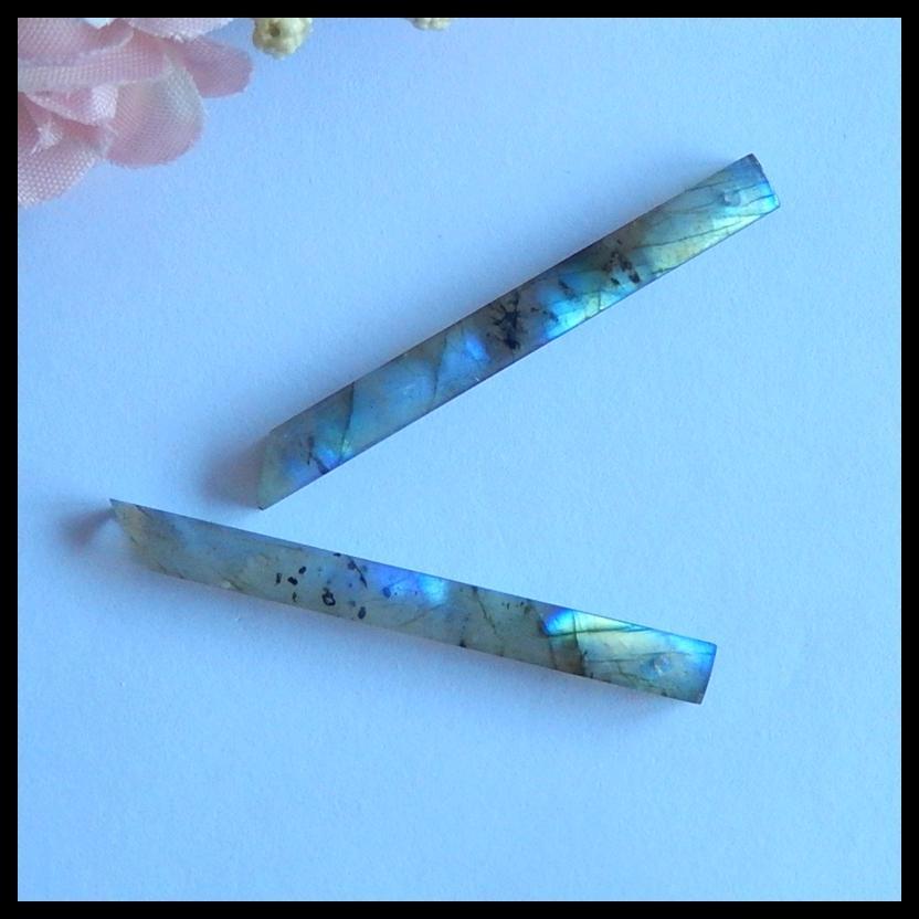 Natural Nugget Pietre semipreziose, Accessori per gioielli Orecchini per labradorite Regalo di compleanno, 49x5x4mm, 5.2g