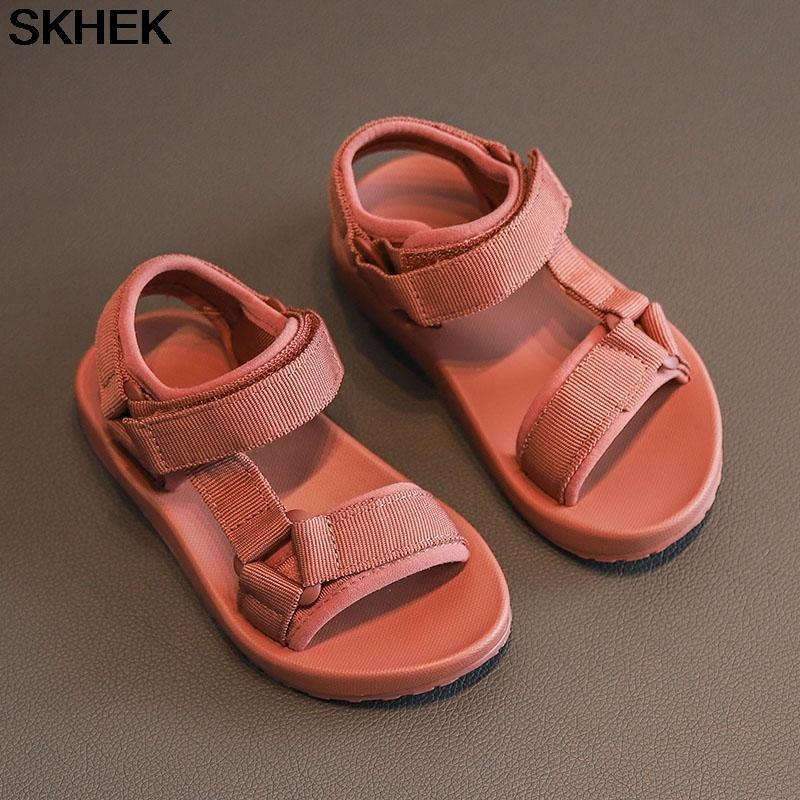 SKHEK 2020 بنين الصنادل طفل أحذية صنادل أحذية أطفال مدرسة المطاط تنفس المفتوحة تو عارضة بوي صندل CX200629