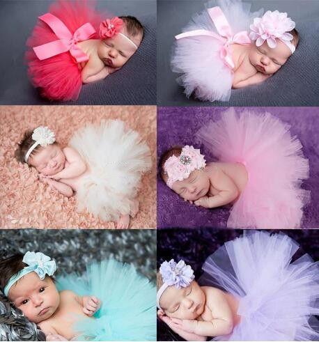 تنورة الطفل المولود حديثا+ربطة رأس الزهور المطابقة 16 نمط التصوير الفوتوغرافي المولود 2pcs / set Baby Tutu Jonl Baby Girls Pettiskirt