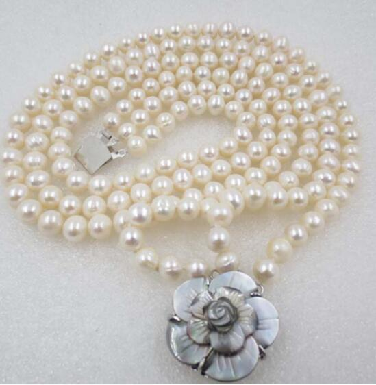 Jewelryr Pearl Necklace 3 row 8mm White potato round freshwater pearl necklace Free Shipping