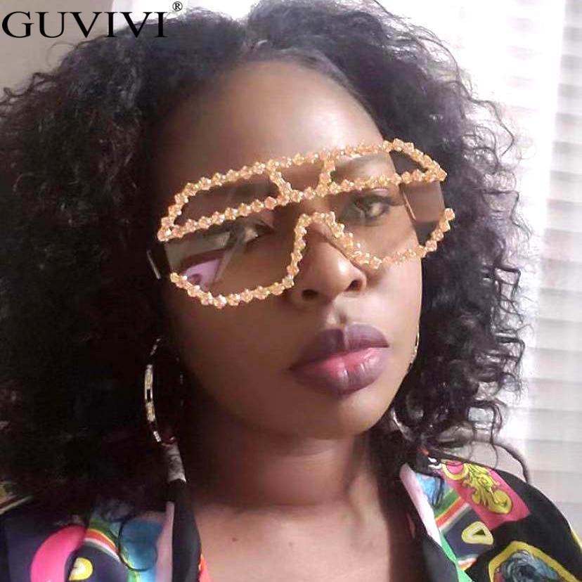 Óculos de sol quadrados 2021 mulheres óculos de sol uma peça strass homens diamante marca oversized vintage retro qcnfb