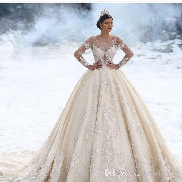 Ball Gown Winter Muslim Long Sleeve Satin Plus Size Country Vintage Wedding  Dresses With Beads Custom Wedding Bridal Gowns South Africa 2019 Ball ...