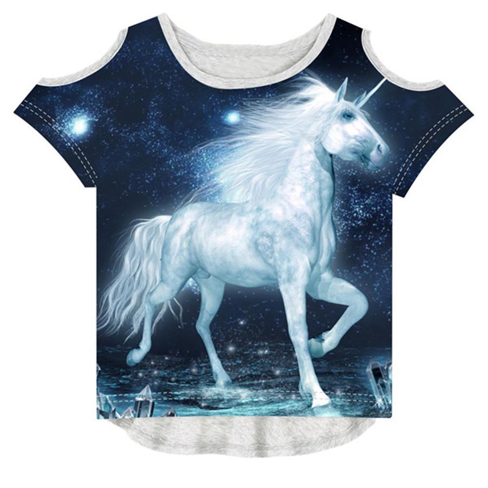 Baby Girl Summer Children Fashion 3d T-shirt Brand Design T Shirt Kids Girl Tees The Unicorn Printing Y19051003