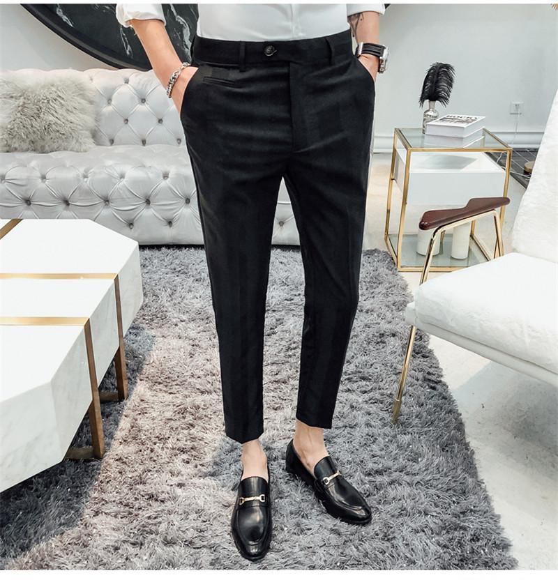 Strisce casuale Designer Mens Pantaloni Primavera Estate Slim Fitness Mens pantaloni lunghi regolare Vita Medio pantaloni matita diritte