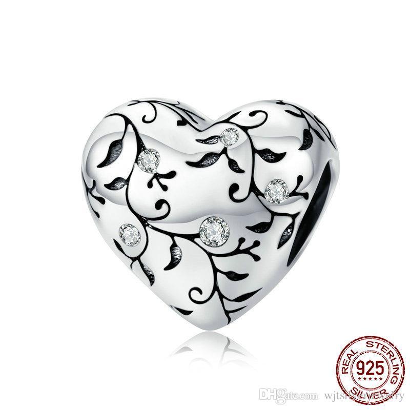 Real 925 encantos de la plata esterlina del grano del corazón del amor joyería apta original de Pandora pulsera colgante de la manera de DIY