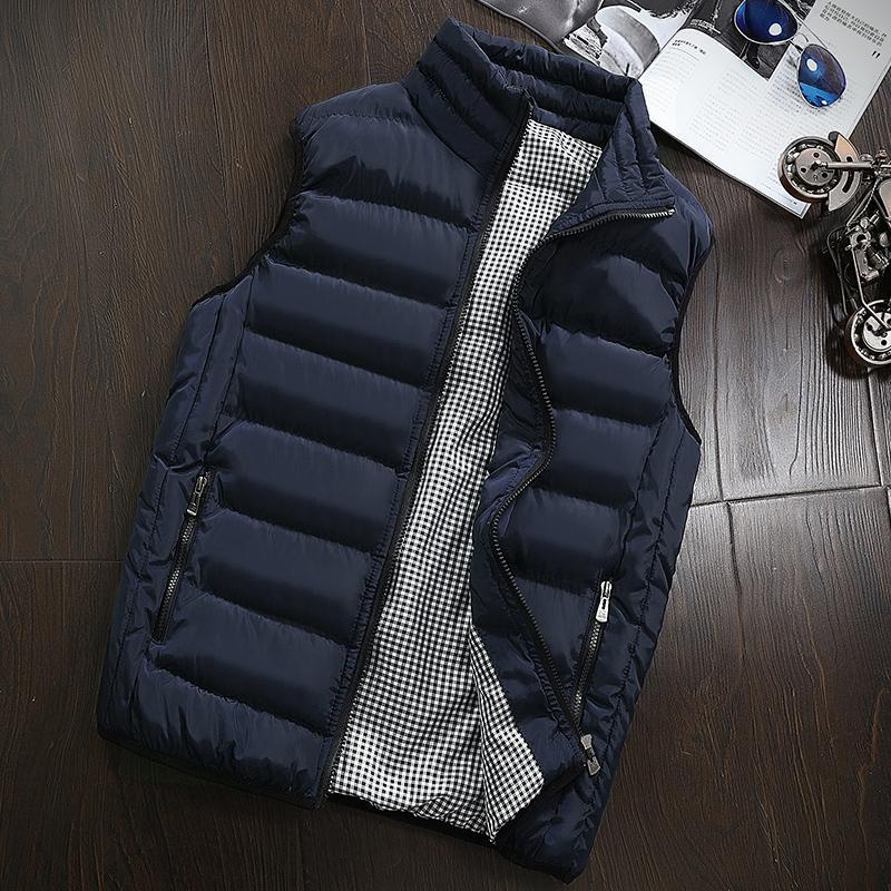 2019 Vest Homens New Elegante Primavera Outono casaco quente mangas Vest homens inverno Homens Colete Casual Coats Homens Plus Size - 5XL DT191029