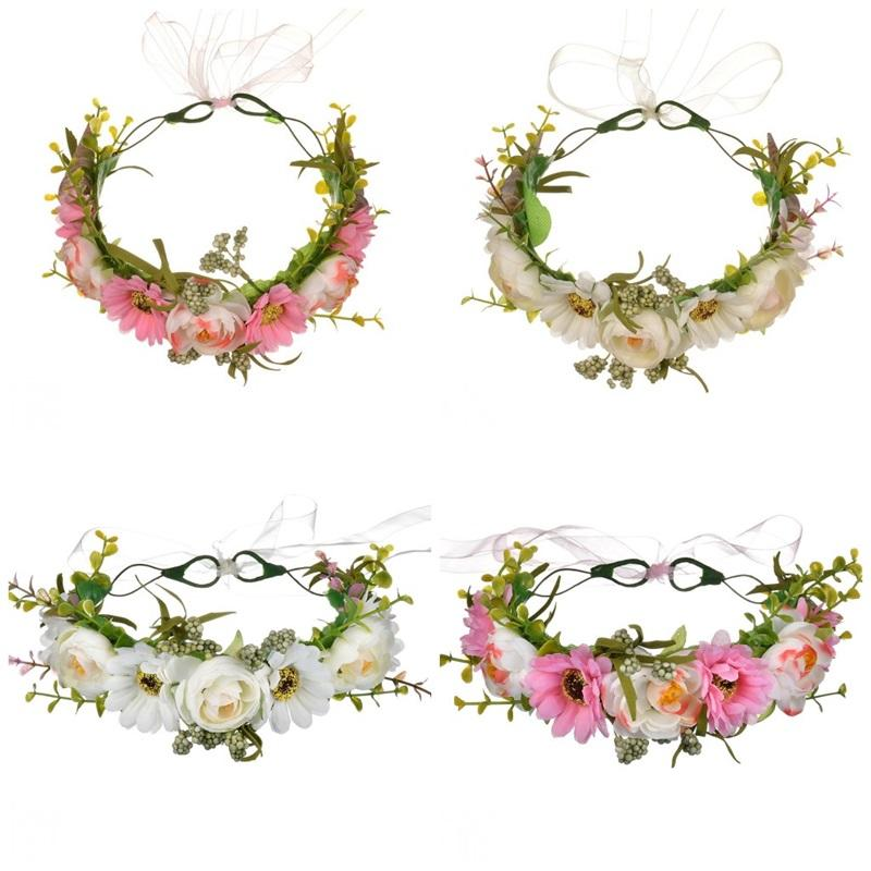 Flower Crown Rose Wreaths Five Colors Manual Cane Aestheticism Hair Hoop Women Artificial Flowers Spring And Autumn Travel 17mxE1