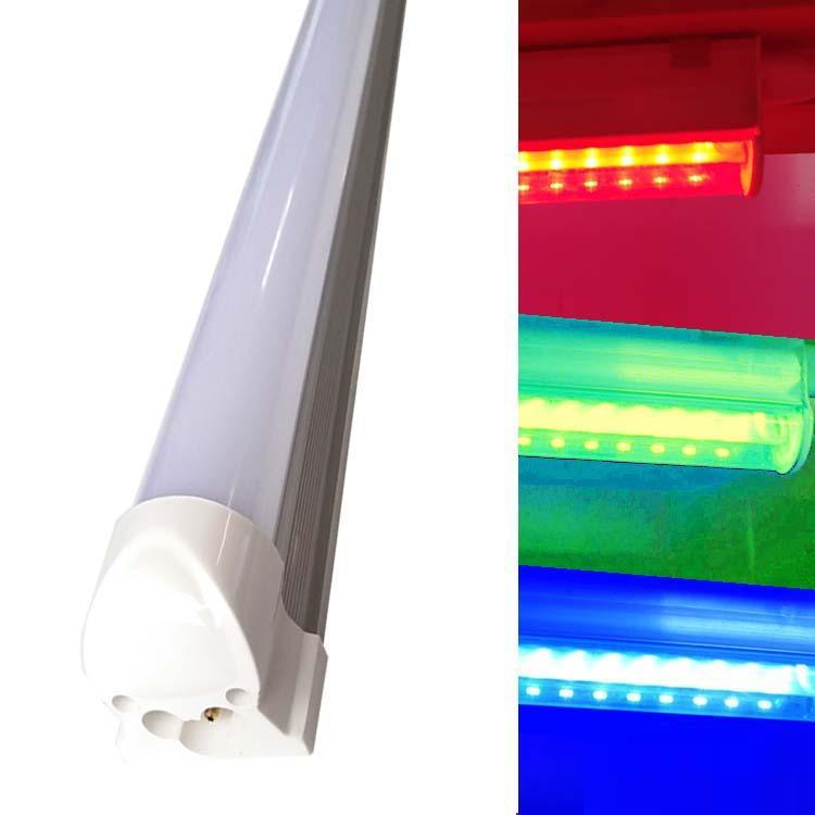 화려한 빨간색 녹색 파란색 노란색 컬러 T8 LED 튜브 조명, 서리로 덥은 유백색 커버, 화려한 더블 행 바 조명을 주도
