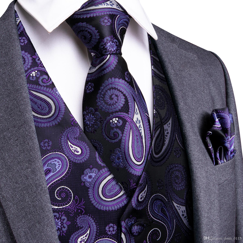 Hi-Tie Party Wedding Handkerchief Necktie Set Men's Classic Purple Paisley Floral Jacquard Waistcoat Vest Pocket Square Tie Suit MJ-0105