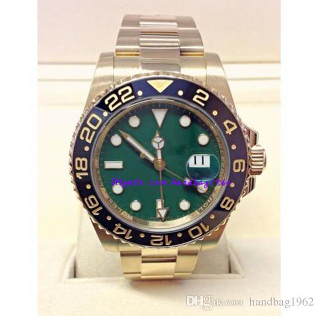 Weihnachtsgeschenk Original Box Zertifikat Herrenuhr Asia 2813 Mechanische 40MM grüne Keramik-Lünette GMT 116718 16718 Mechanisches Automatik