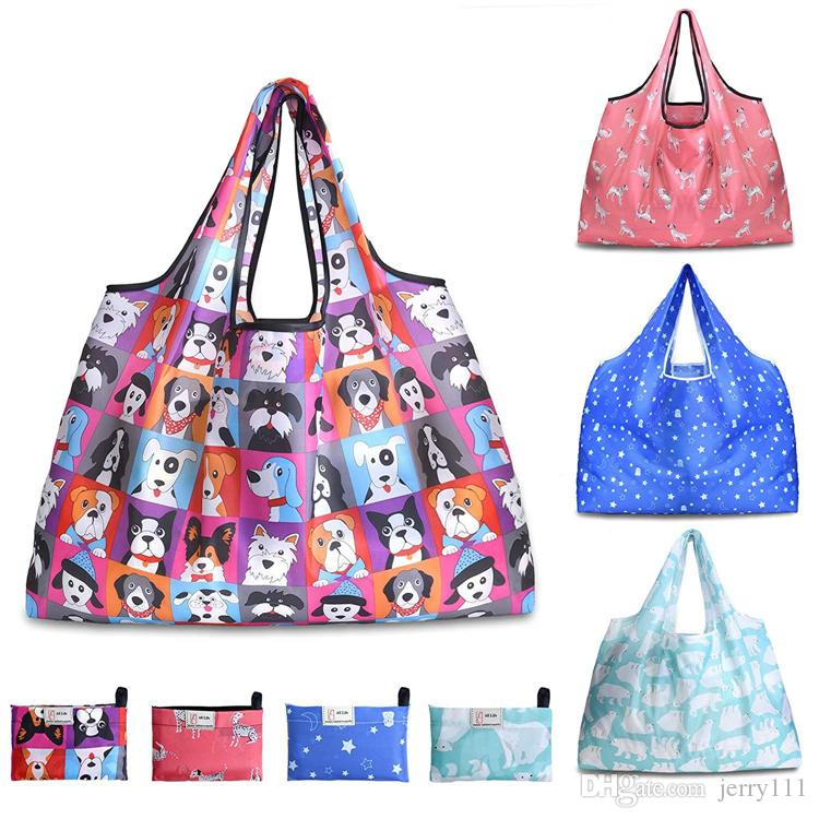 Folding Bag 11 estilos reutilizáveis sacos de compras saco de armazenamento Eco-friendly Bolsas sacola Grande Impresso sacos de ombro JJ181