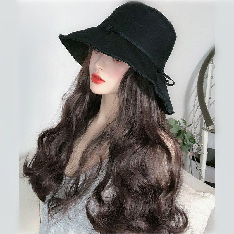 VICWIG peruca Chapéu Preto Brown Black Curly Big Ondulado 18 polegada de comprimento de cabelo sintético partido diário Spring Summer perucas para mulheres
