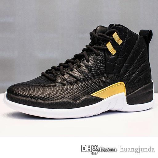 Cheap retro 12s basketball shoes j12 Wings Black Gold snakeskin Red French Blue White youth kids jumpman air flights sneakers boots with box