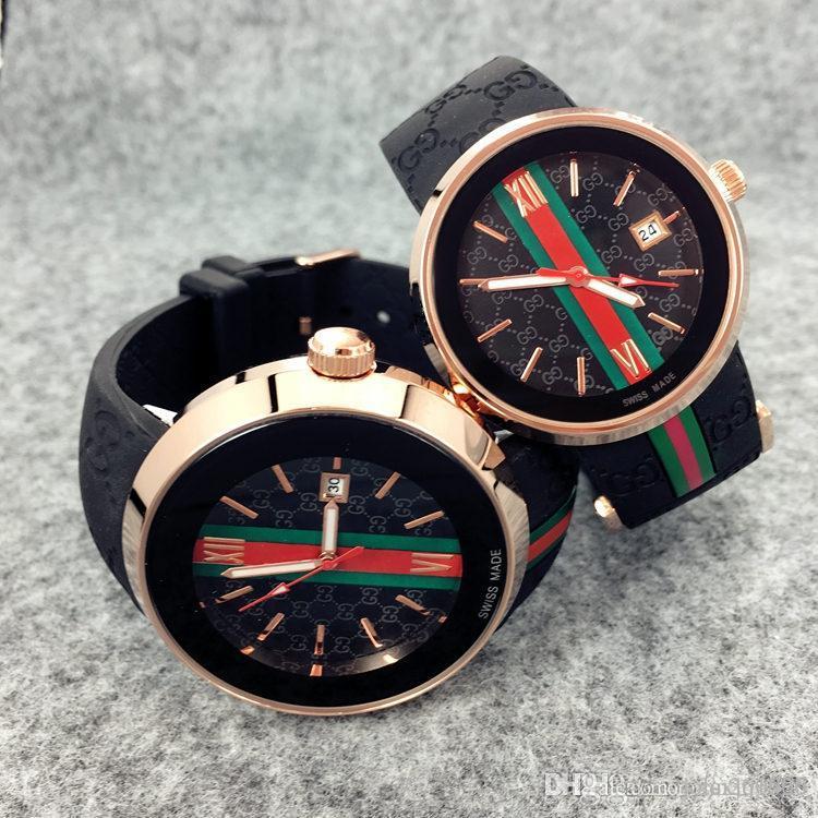BESTSELL moda las mujeres Hombres del reloj cronógrafo de cuarzo reloj de los hombres del deporte de diseño de estilo informal de calidad superior de lujo Fecha Reloj de pulsera de caucho reloj Niza
