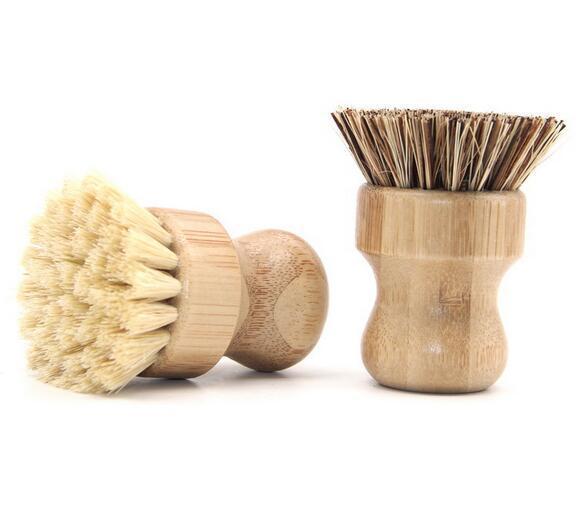 Ventas al por mayor del envío libre de cocina cepillo de limpieza de sisal palma de bambú de bambú mango corto plato redondo cepillo pote del cepillo