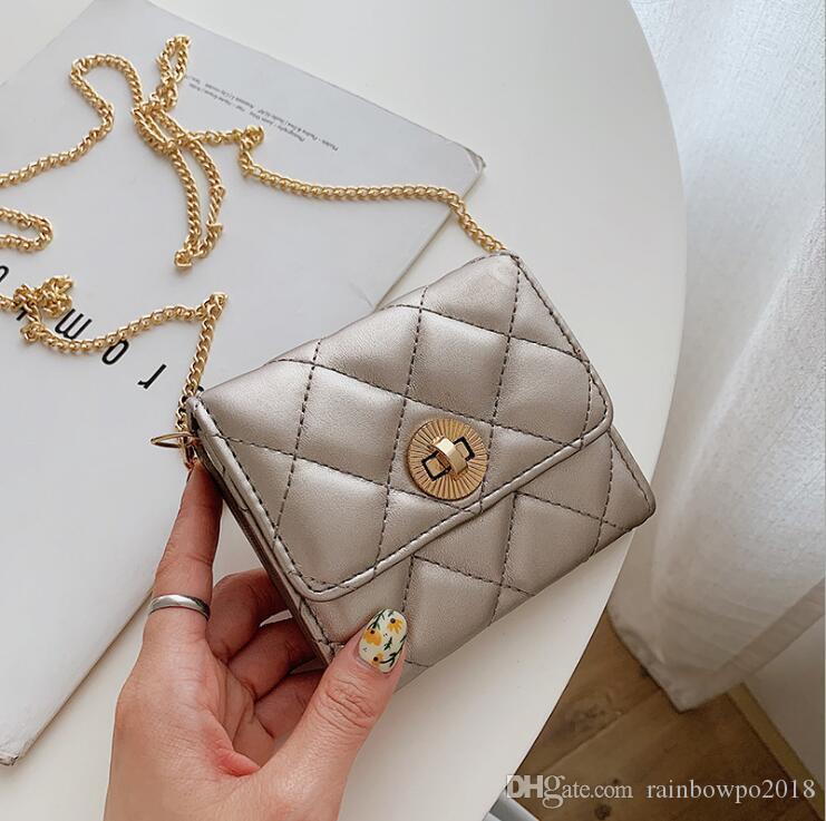 Factory wholesale women handbag multifunctional plaid women chain bag street trend plaid women long wallet classic leather coin purse