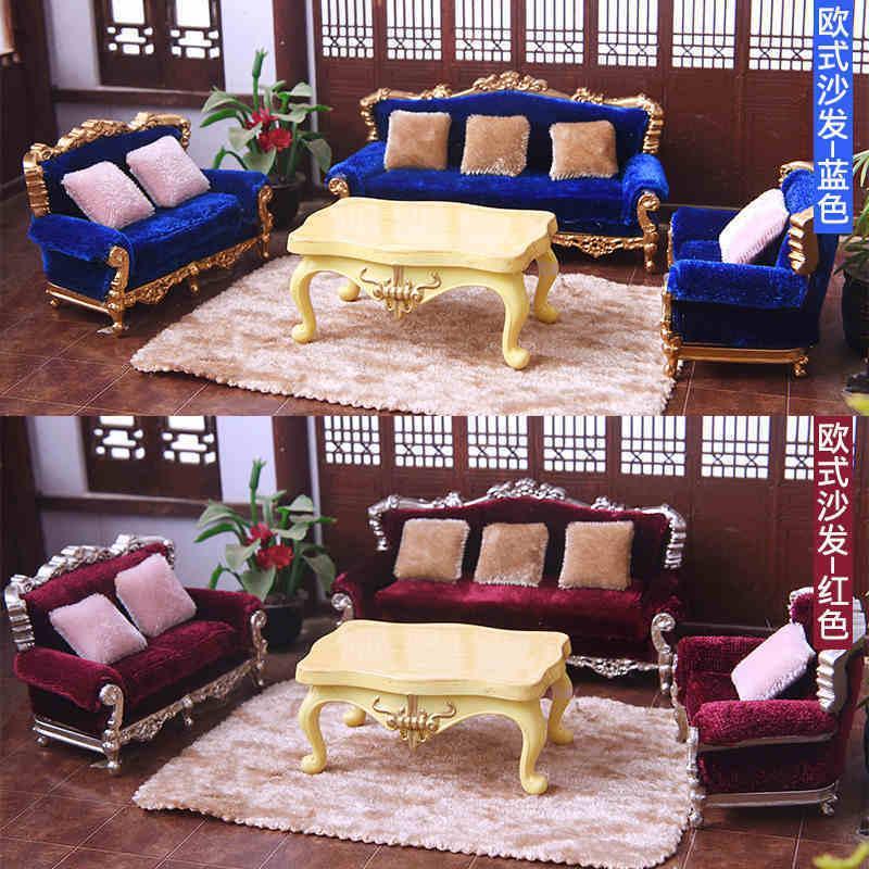 1/25 bricolaje miniatura muebles del Dollhouse sofá cojín del sofá Conjunto de juguete de modelo Y200428