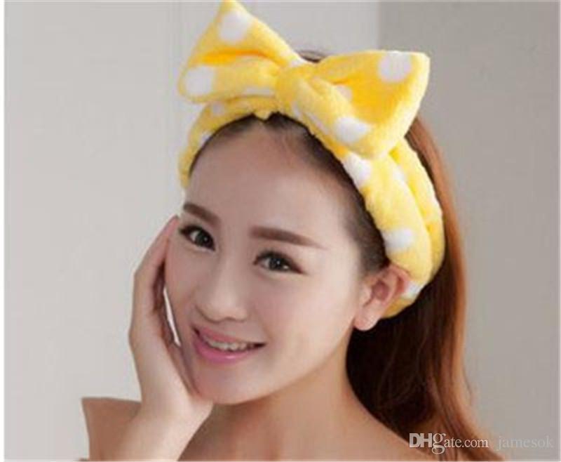 Mulheres Elastic cabelo Coral Velvet Big Bow Polka Dot Stripe Headbands Bath Wash Rosto Maquiagem Banda Beleza Duche Hairband Head-Ware dc104