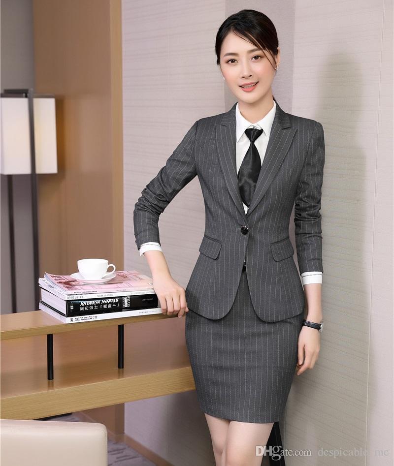 Официальный офис равномерное дизайн женщин деловые костюмы юбка и куртка устанавливает дамы блейзер костюмы стили серый