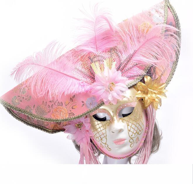 أقنعة البندقية أنيقة مع الريشة زهرة قبعة كامل الوجه تنكر حزب للنساء الزفاف تأثيري الدعائم