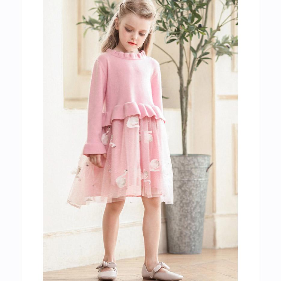 I bambini di lusso del vestito dalle ragazze di marca in maglia mesh Puff principessa Dress dei bambini Swan Stampa Gonna Solid Lace colore abiti vestiti della ragazza Top Quanlity