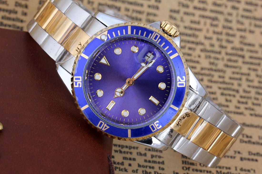 Mens watch Luxe deux tons Master Full Steel Stainless Steel Mécaniques Montres Or Argent Noir 40mm montres vakcak