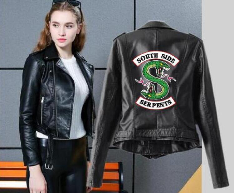 2019 Riverdale Женская ПУ Кожаная Куртка Зимний Мотоцикл Куртка короткие Саусы Змеи Искусственные Кожа Мотоцикл Пальто V200407
