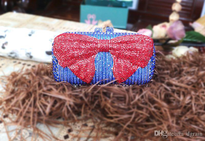 Dgrain Einzigartiges Design Kristall Geschenkbox Frauen Bogen Clutch Abendtasche Rot und Blau Strass Hochzeit Handtasche Damen-Beutel-Partei-Handtaschen