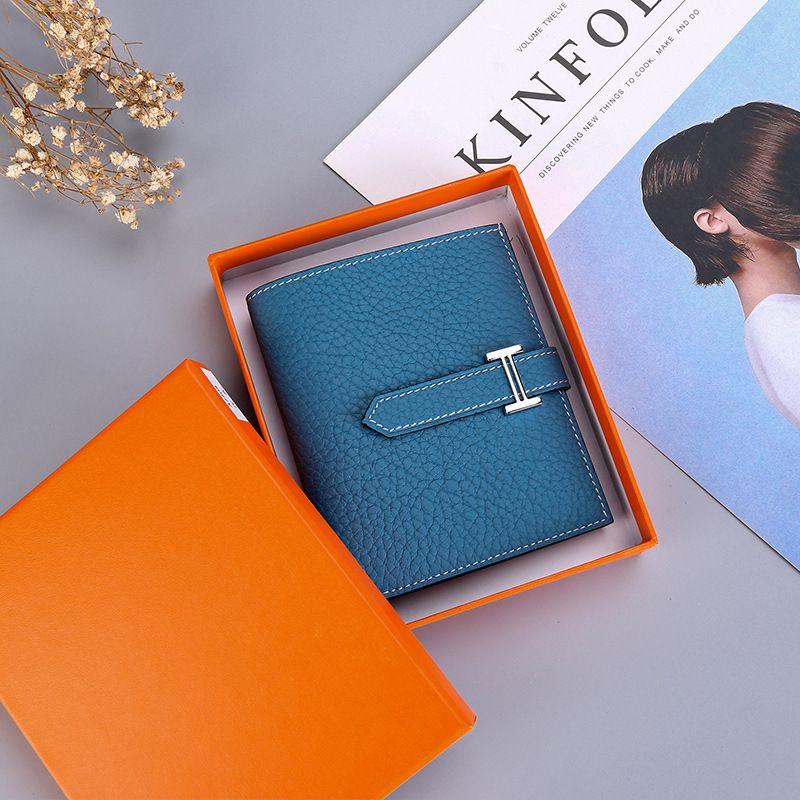Charm2019 نمط جلد حقيقي حزمة المال الصغيرة امرأة فقرة قصيرة H مشبك الجلد الرئيسية البدلة المحفظة