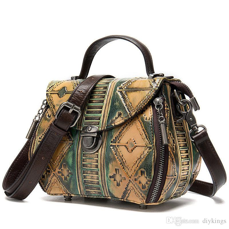 Lady Retro-Stil Luxus-Umhängetasche Umhängetaschen Mehrfarbenvollrindleder Doktortasche 17 * 10 * 15 (cm)