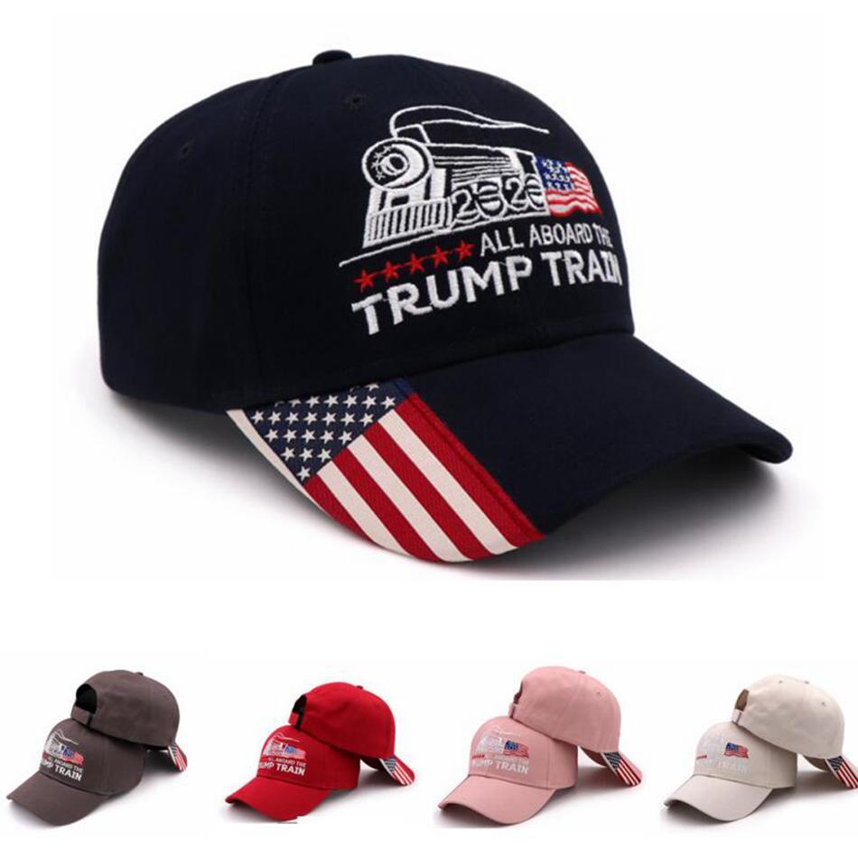 Donald Trump treno Berretto da baseball all'aperto ricamo Tutti a bordo del Trump cappello treno sport cap stelle strisce USA Flag Cap LJJA3379-2