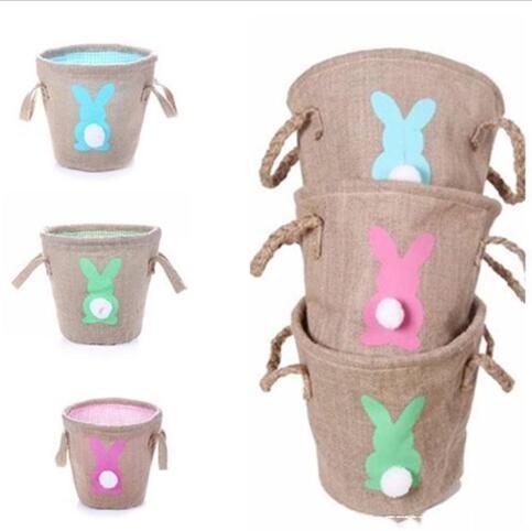 Pâton 3D PASSIER Panier de dessin animé de lapin Paniers imprimés Sacs d'œufs Sac de jouets Cadeaux Tote Sacs à main Baglap Bag Party Props WY281Q