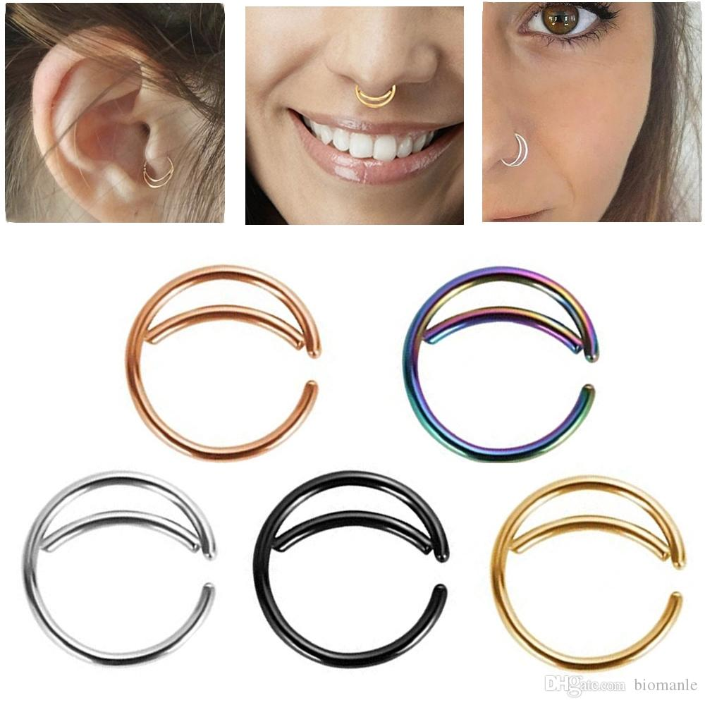2020 316l Stainless Steel Moon Nose Ring Body Piercing Jewelry Ear