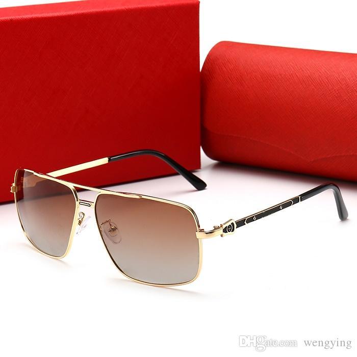0125 Lente de cristal de calidad superior Moda Hombres y Mujeres Gafas de sol con recubrimiento Protección UV Diseñador de marca Vintage Sport Gafas de sol Con caja marrón
