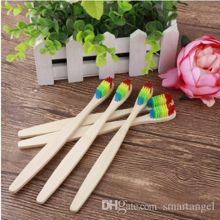 MOQ 500pcs Natural Bamboo Toothbrush Rainbow color Soft Bristle Travel Tooth Brush family use Toothbrushes Dental Oral Care