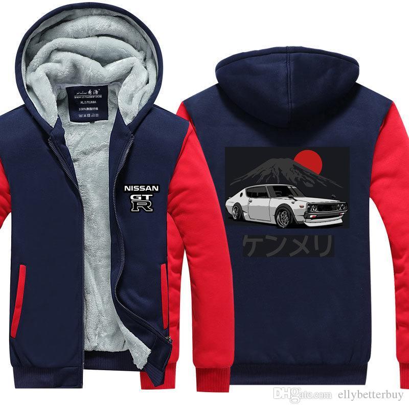 Yeni Nissan GTR Kış Kaşmir Hoodie Fermuar Ceket Boş Tişörtü Kalınlaşmak Hırka Coat Uzun Kollu Eşofman Kazaklar Tops
