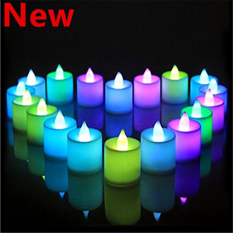 24Pcs Candele senza fiamma colorate Candele Tealight a LED Candela a batteria a LED per decorazioni natalizie per feste di compleanno di nozze