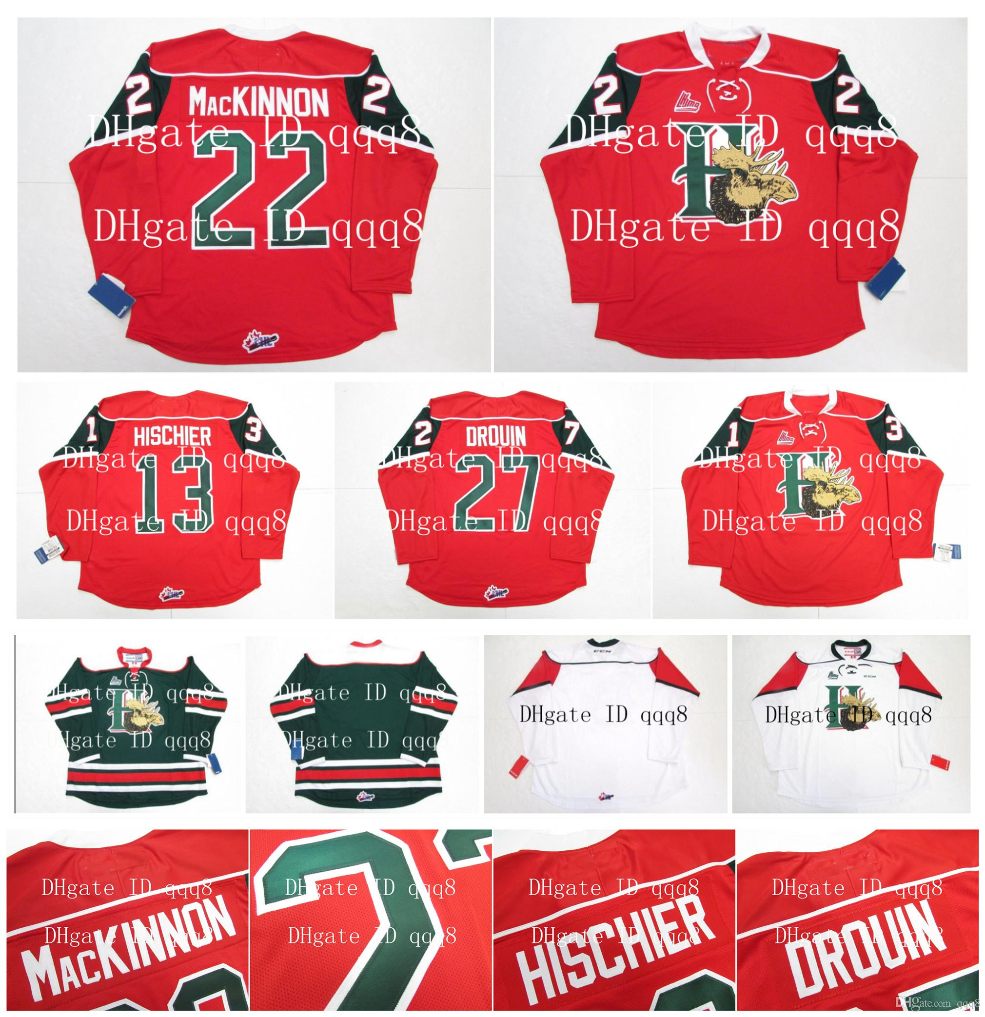 QMJHL Halifax Mooseheads 유니폼 22 NATHAN MacKinNON 13 니코 허쉬 27 조나단 드로 인 레드 화이트 Green100 % Stitching Custom Hockey Jerseys