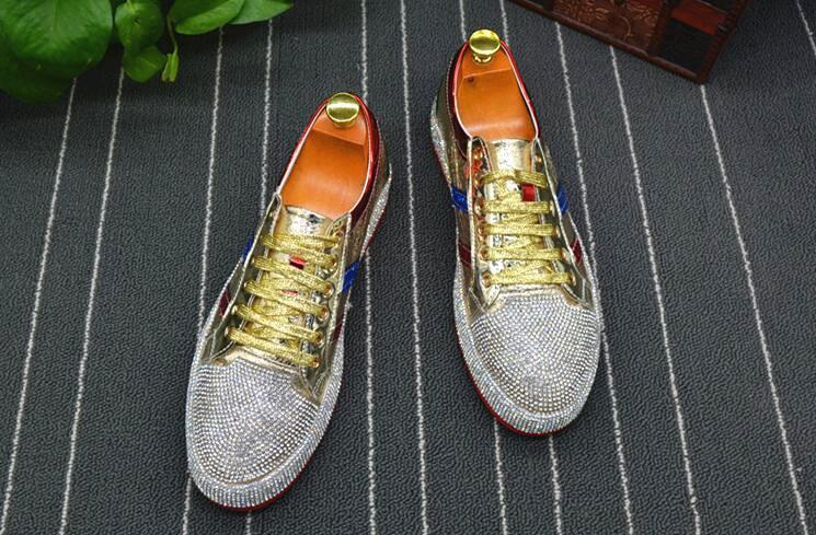 Fashion Men rhinestone gold silver red mixed color Causal Loafers shoes Moccasins Men Driving non-slip Rubber bottom For Man d09