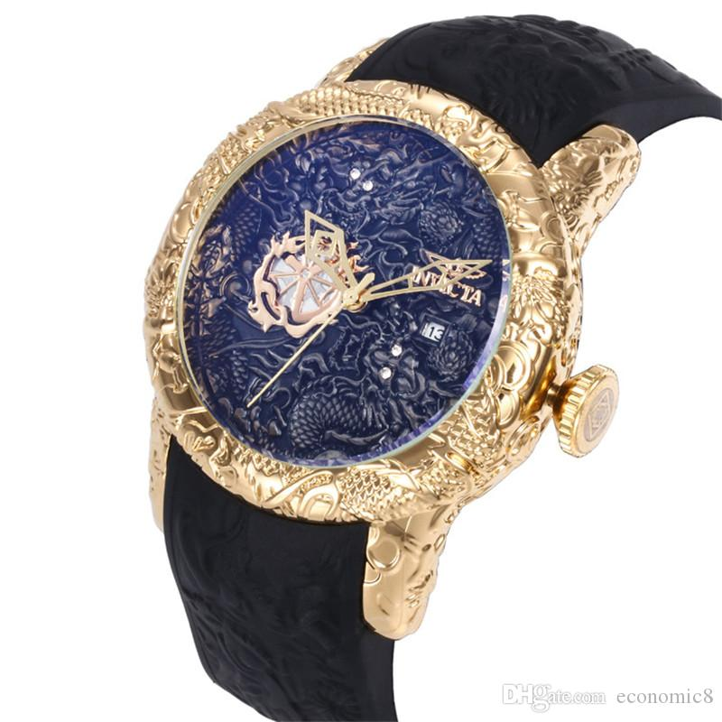 Tamanho grande cinta chinês invicta Qualidade de borracha do dragão do estilo dos homens relógios de quartzo Relógios de pulso relogies para homens relojes melhor presente