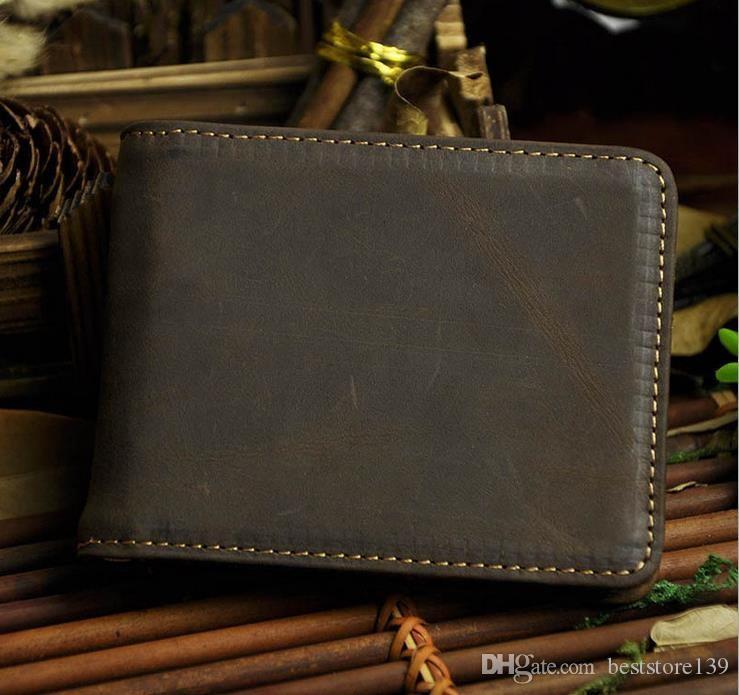 Hommes Vintage en cuir véritable Homme Brown Wallet Crazy Horse bourse en cuir de clip en métal pour les cartes de crédit dolaire Horizon court Forme Bifold
