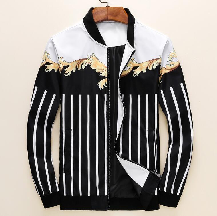 2019.AutumnWinter nuova manica lunga dal design di lusso Medusa giacca a vento giacca casual da uomo maschile # 3322