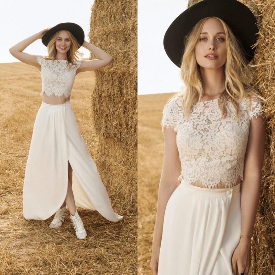 Modest Rembo Styling Bohemian Jewel Short Sleeve Front Split Two Piece Wedding Dresses Lace Tulle Wedding Gown Sweep Train robe de mariée