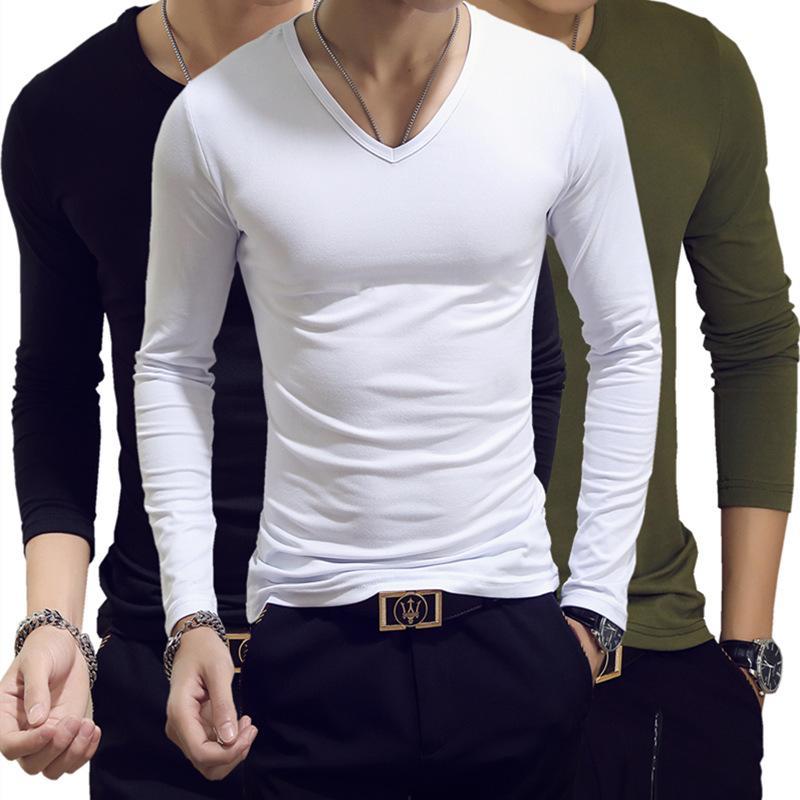 Herren T-Shirts Frühling und Herbst T-shirt Langarm V-Ausschnitt Feste Farbe Hemd Bottoming Korean Slim