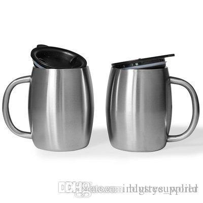 14 унций чашки из нержавеющей стали кружка кофе двойной стены стакан очки с крышкой цвет нержавеющей стали дома, офиса, школы, поездки на автомобиле