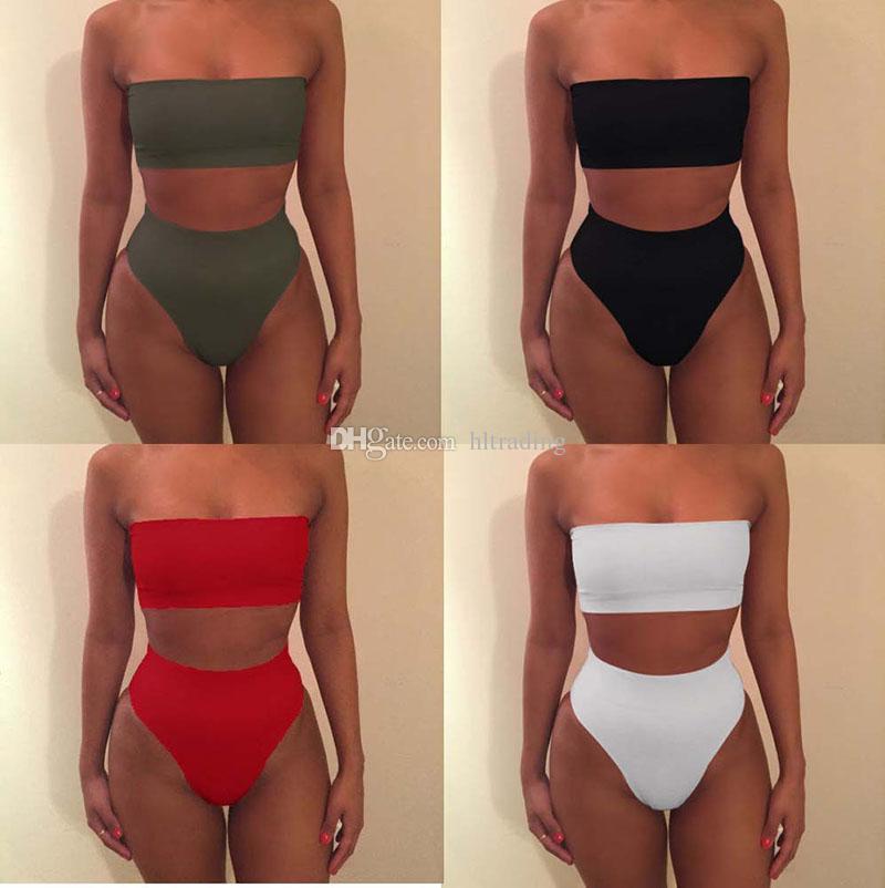 Сплошной цвет без бретелек бикини 6 цветов купальники женщины с плеча бандаж купальник леди купальный костюм 2019 лето пляжная одежда C6534