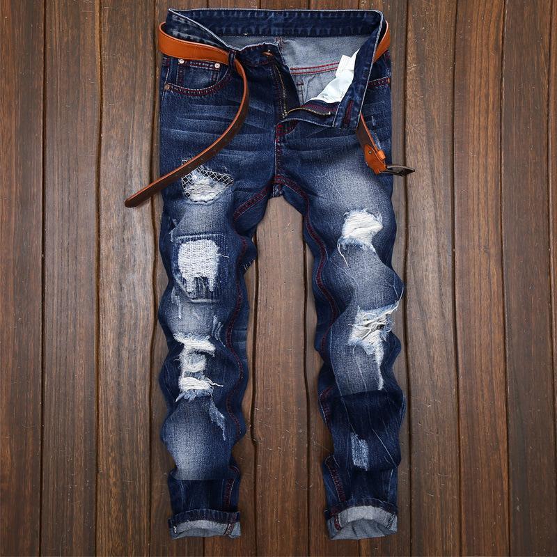 2018 Brand Spring Hole Slim Biker Hip Hop Swag Men Jeans Pants Fashion Casual Vintage Ripped Denim Mens Trousers Blue